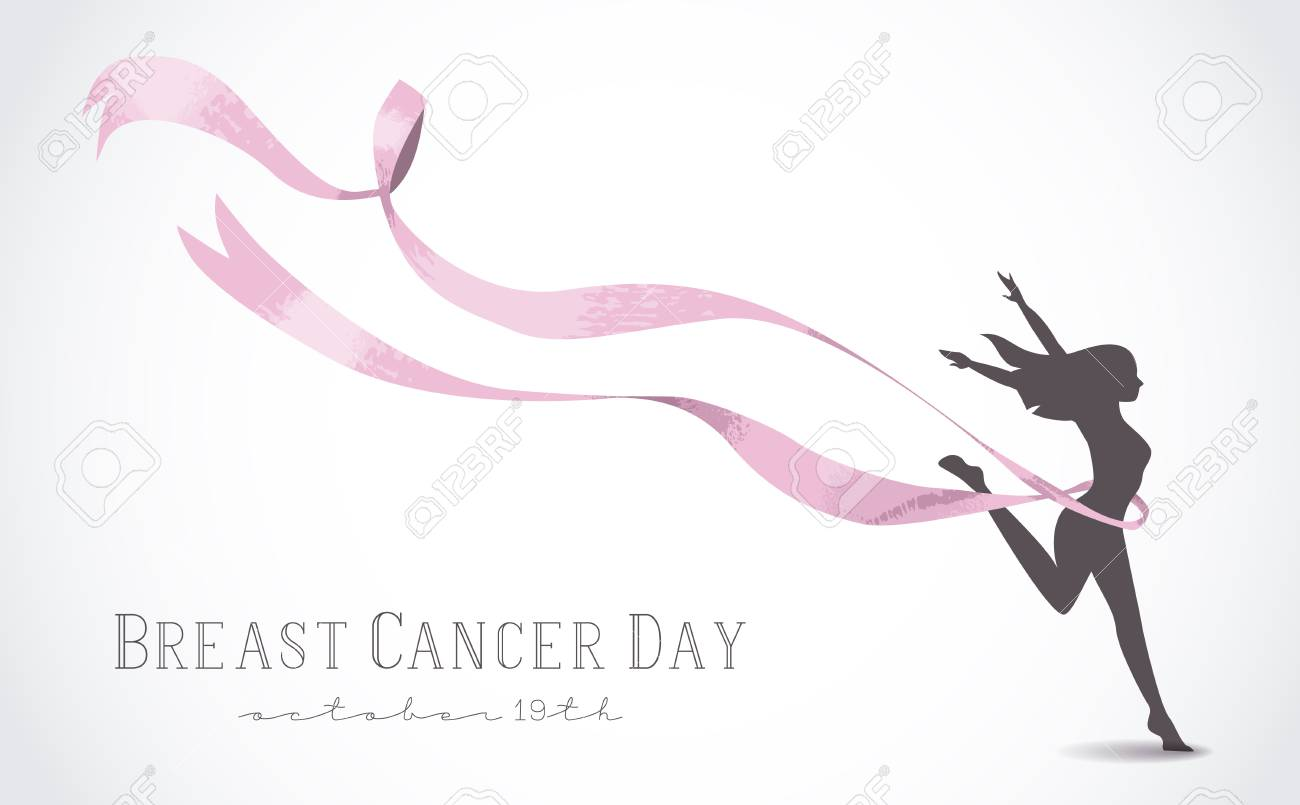 Healthy Woman Silhouette With Pink Ribbon In Support Of Breast Royalty Free Cliparts Vectors And Stock Illustration Image 60550057
