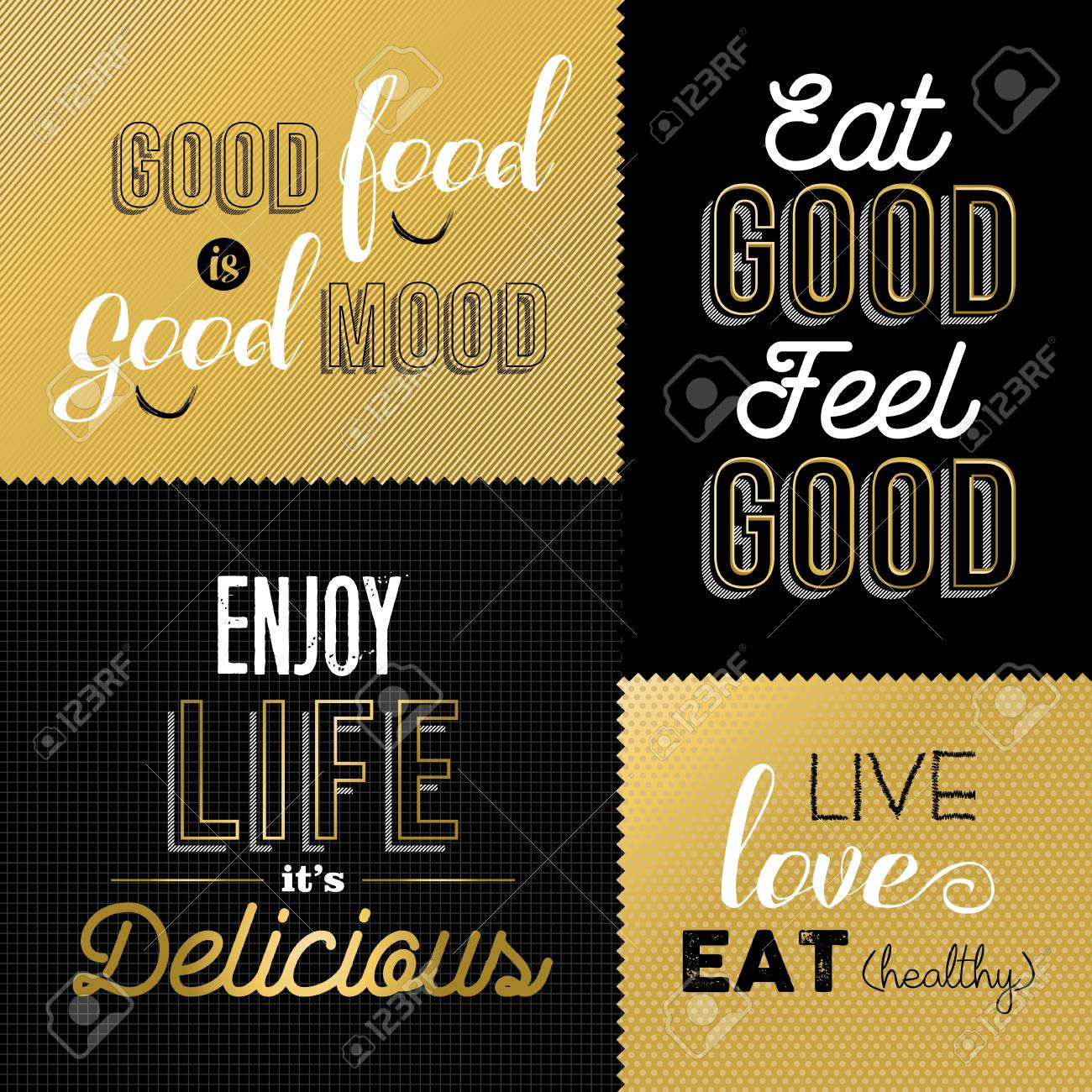 Set Of Vintage Food Quotes In Gold Color Design Ideal For Restaurant