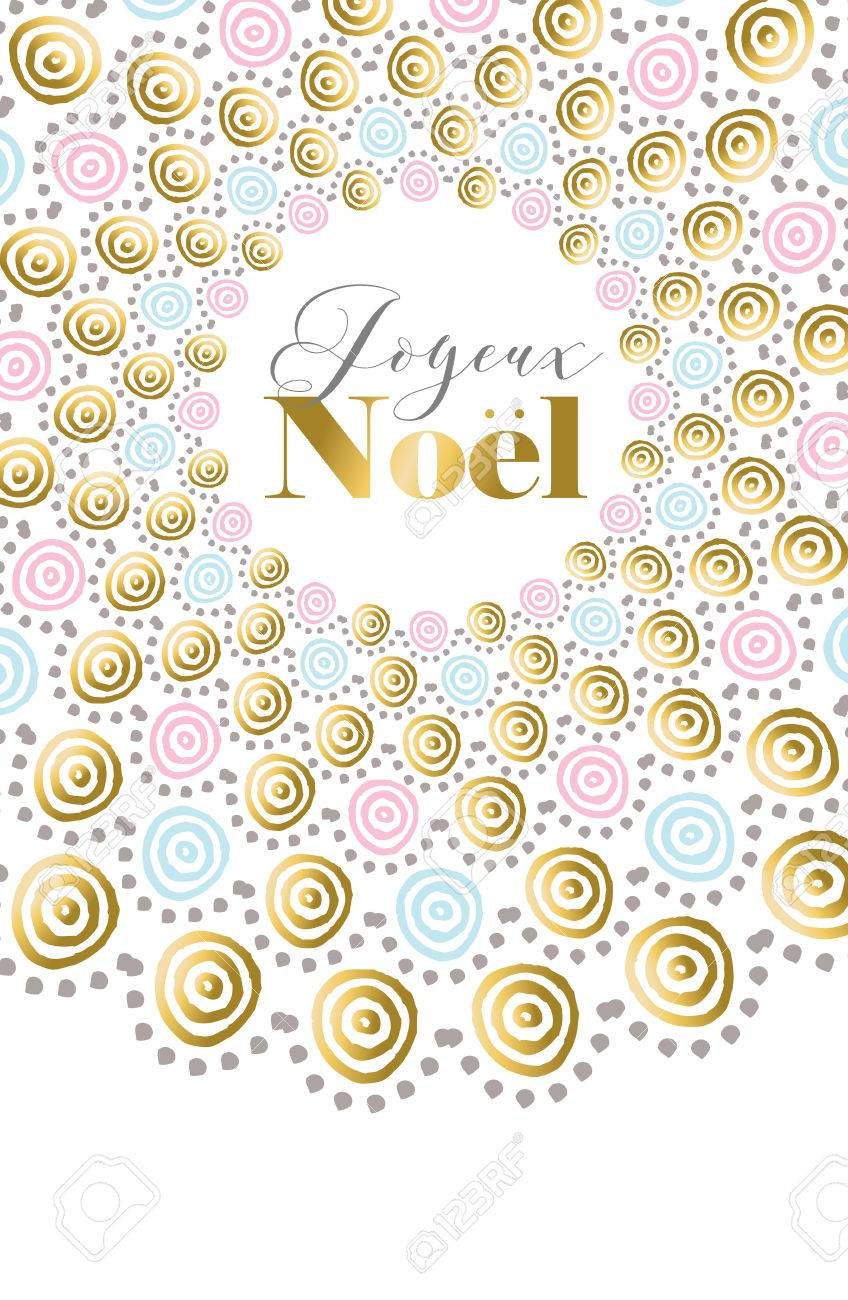Merry Christmas Happy New Year Design In French Language Gold