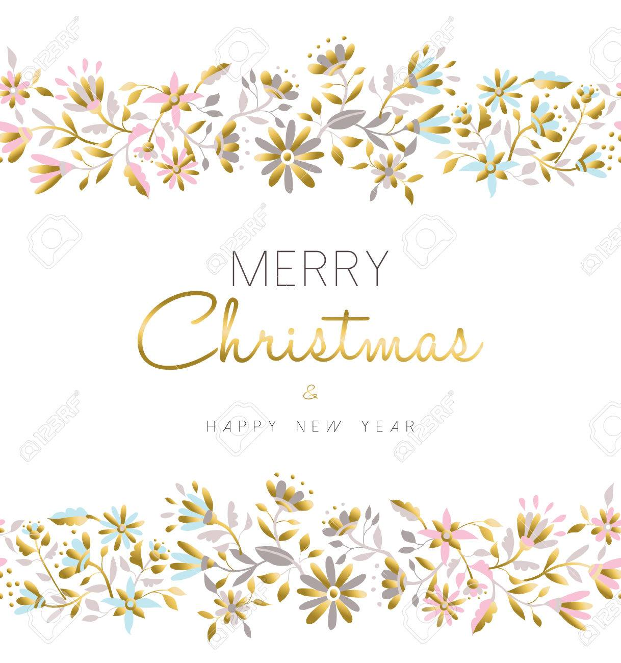 merry christmas and happy new year floral seamless pattern background in gold pastel color with flower