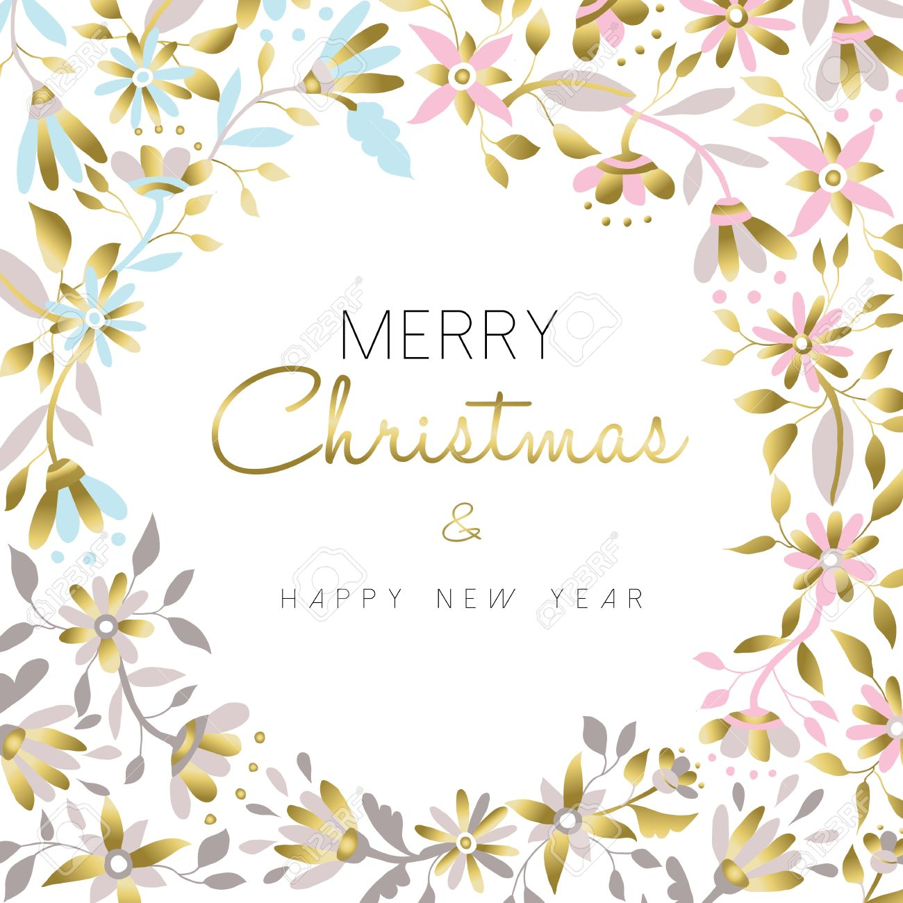 Merry Christmas And Happy New Year Gold Flower Christmas Decoration ...