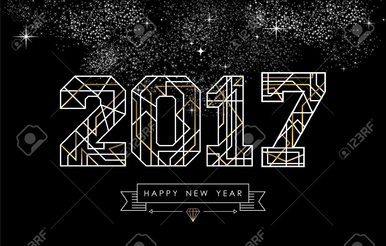 Happy New Year card design in art deco style, gold and white 2017 sign with label. vector. - 63255110