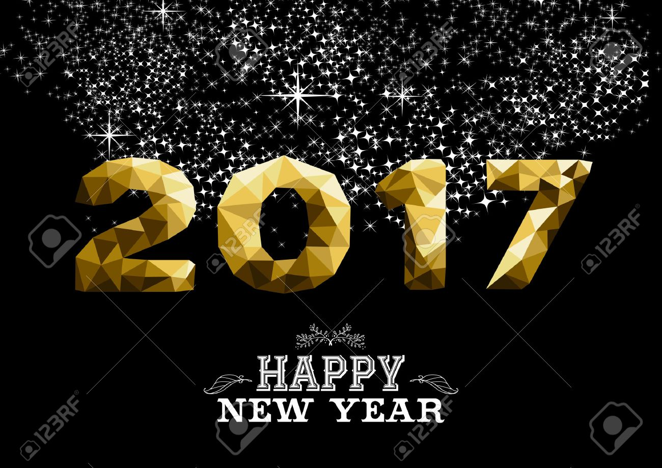 Happy new year 2017 gold low poly geometry design on night firework background. Ideal for greeting card, party invitation or web. vector. - 63255112