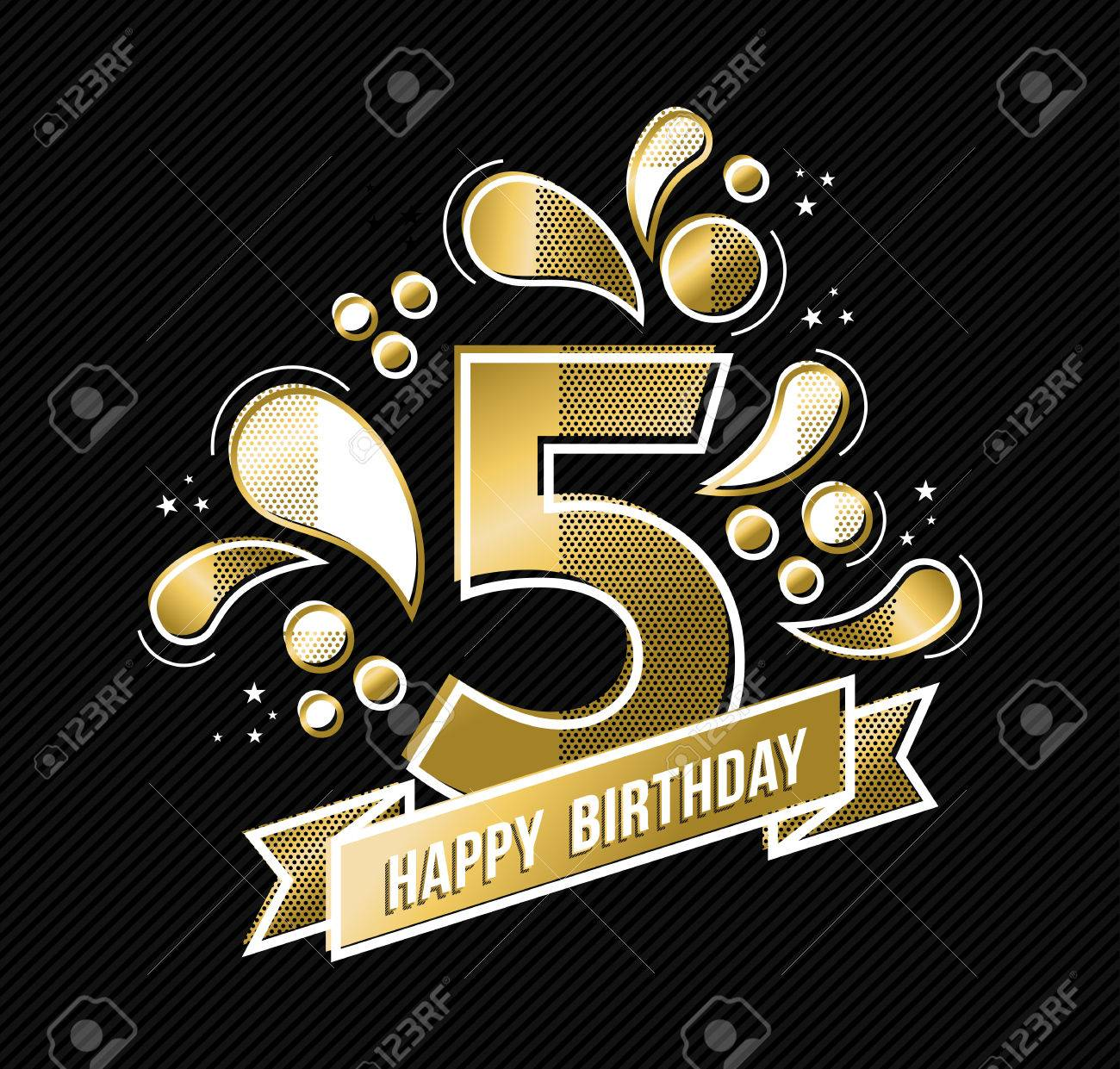 Happy birthday number 5, gold color design for five years in modern style with geometric shapes. vector. - 63255310