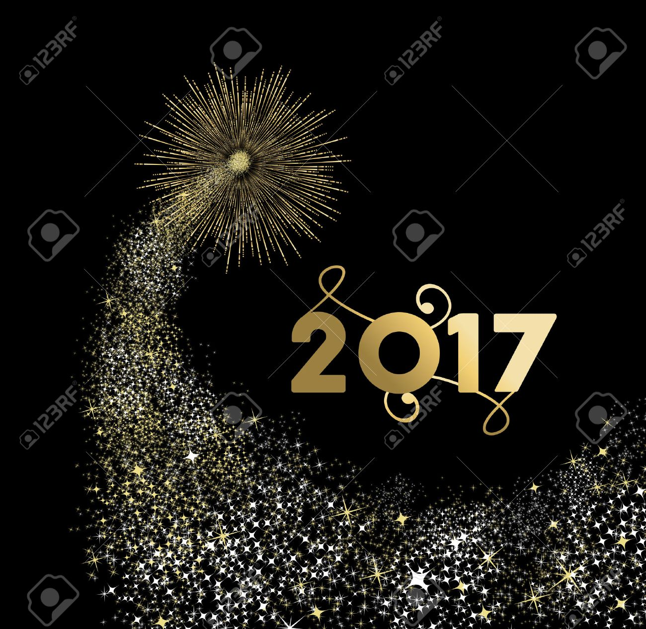 Happy New Year 2017 gold design with firework explosion illustration. Ideal for holiday greeting card or poster. vector. - 63255319
