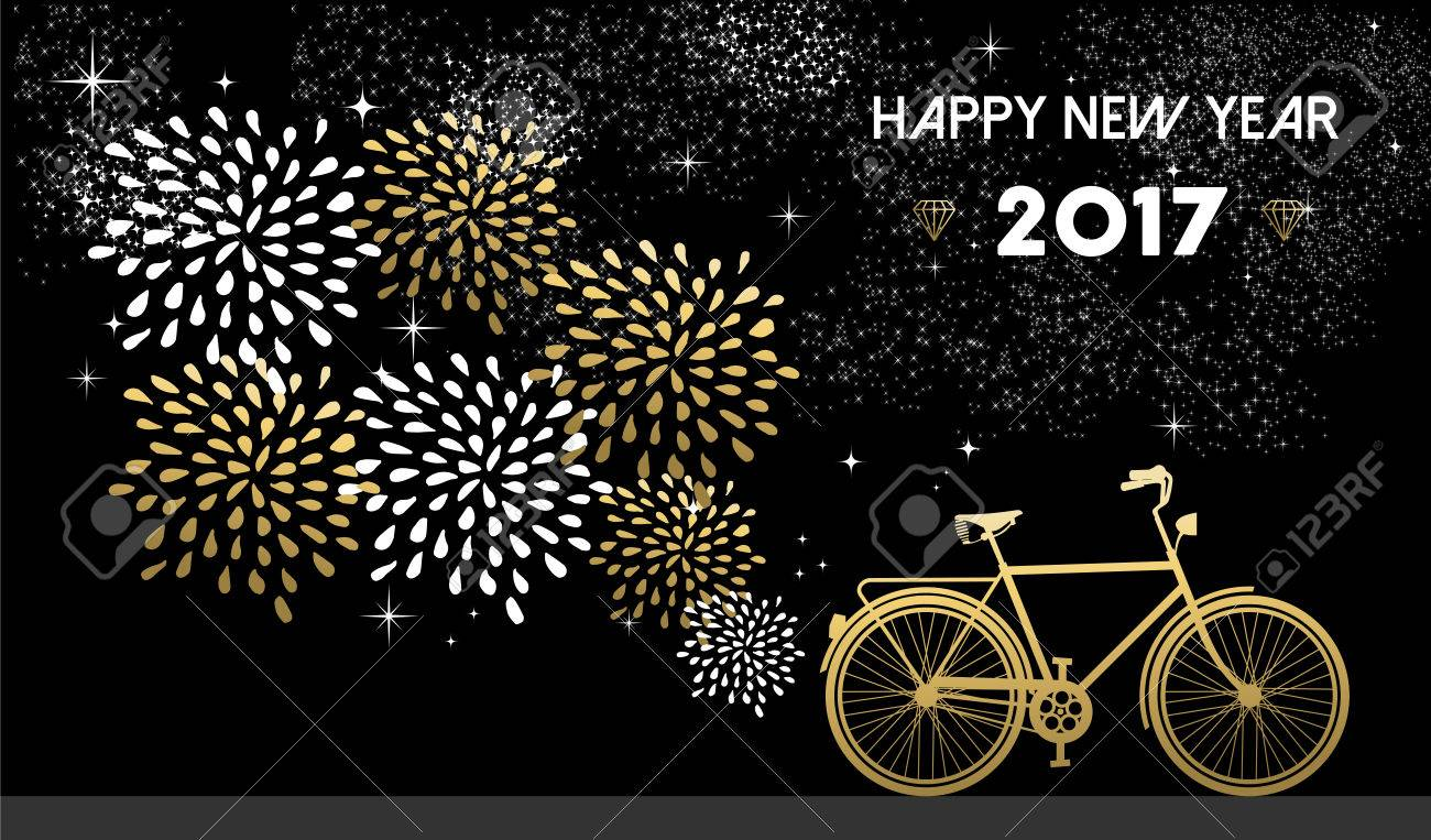 Happy New Year 2017, gold card design with bike and fireworks in night sky background. vector. - 63255537