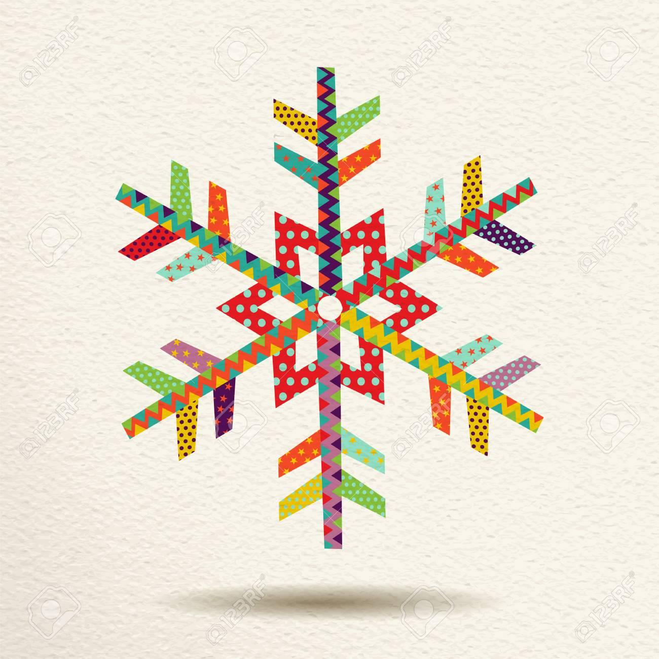 Frohe Weihnachten Schneeflocke In Spaß Glücklich Farben Mit ...