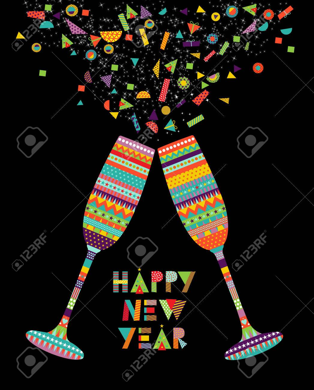 fun happy new year card design with drink glass making toast and colorful decoration eps10