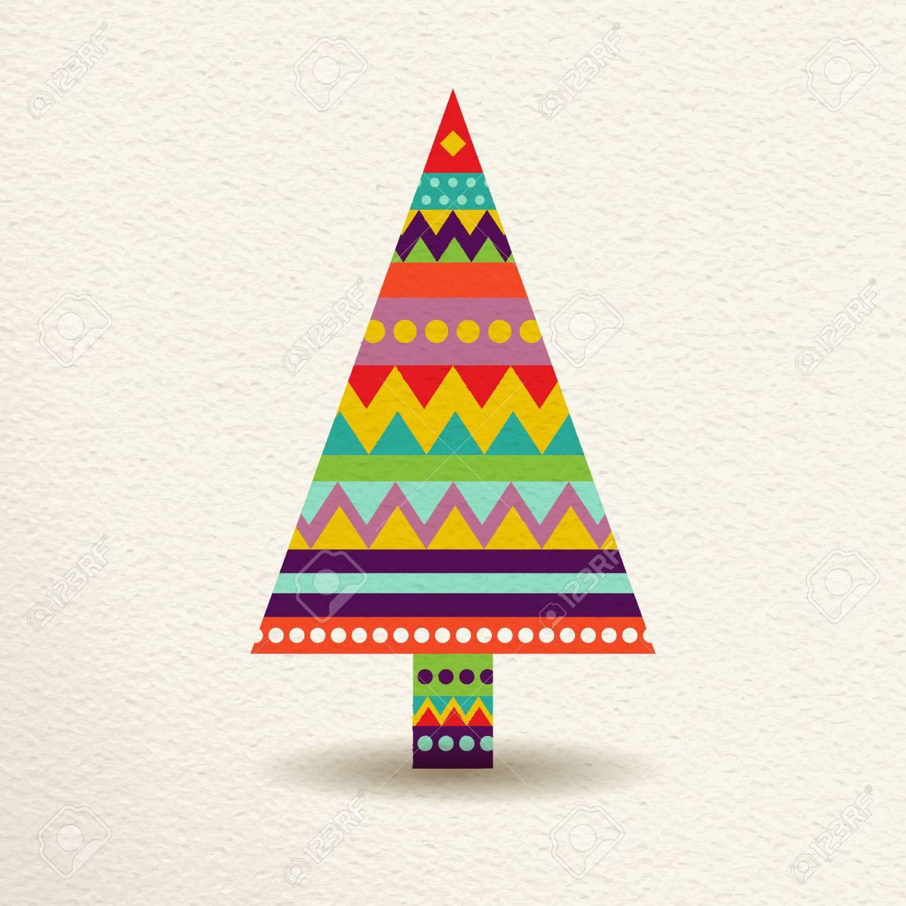 Frohe Weihnachten Kiefer In Spaß Glückliche Farben Mit Abstrakten ...