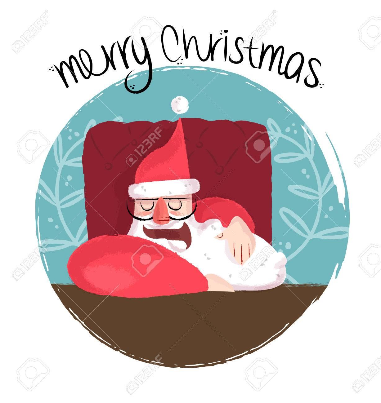 メリー クリスマス面白い手には、机の上に寝ているかわいいサンタ