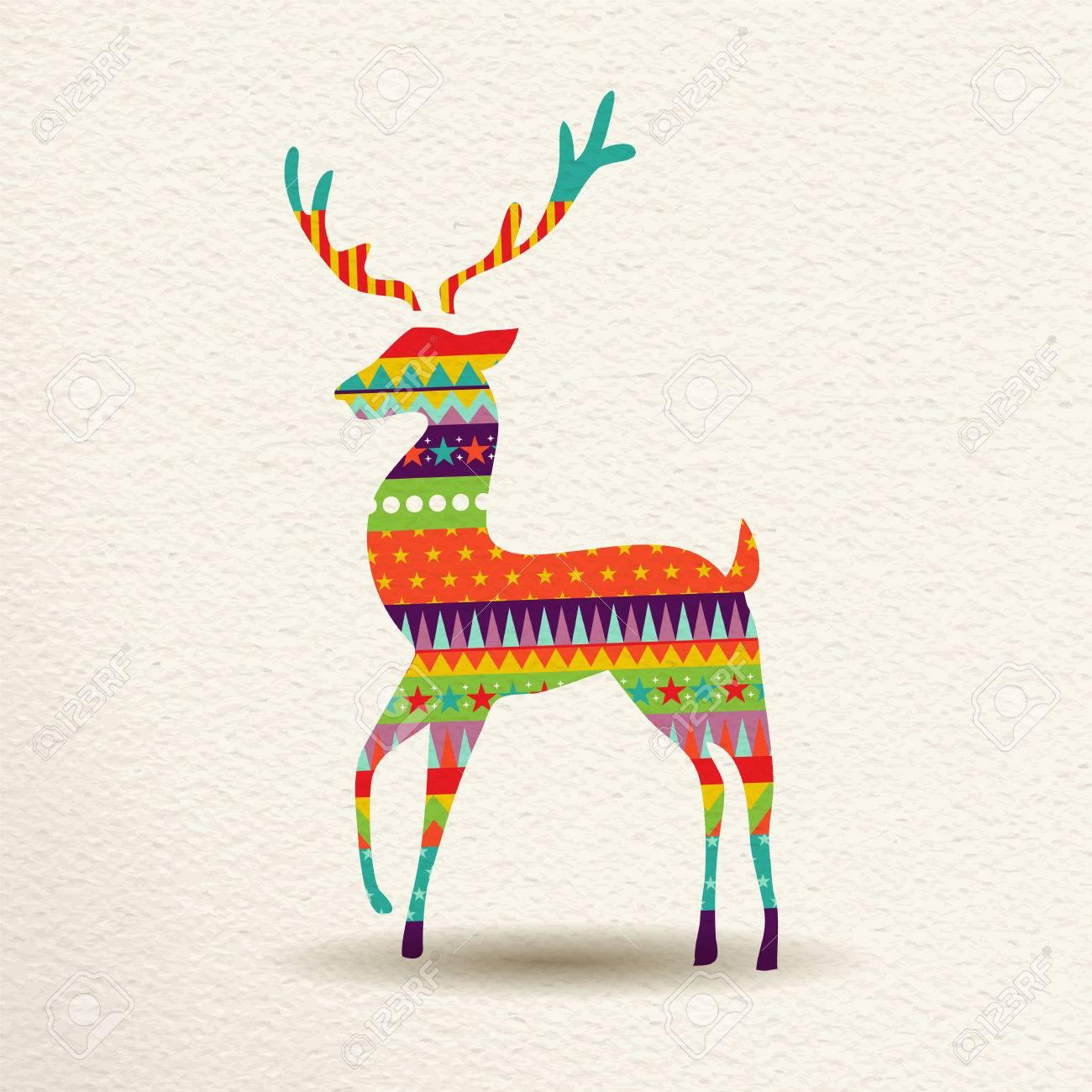 Frohe Weihnachten Hirsche In Spaß Glücklich Farben Mit Abstrakten ...