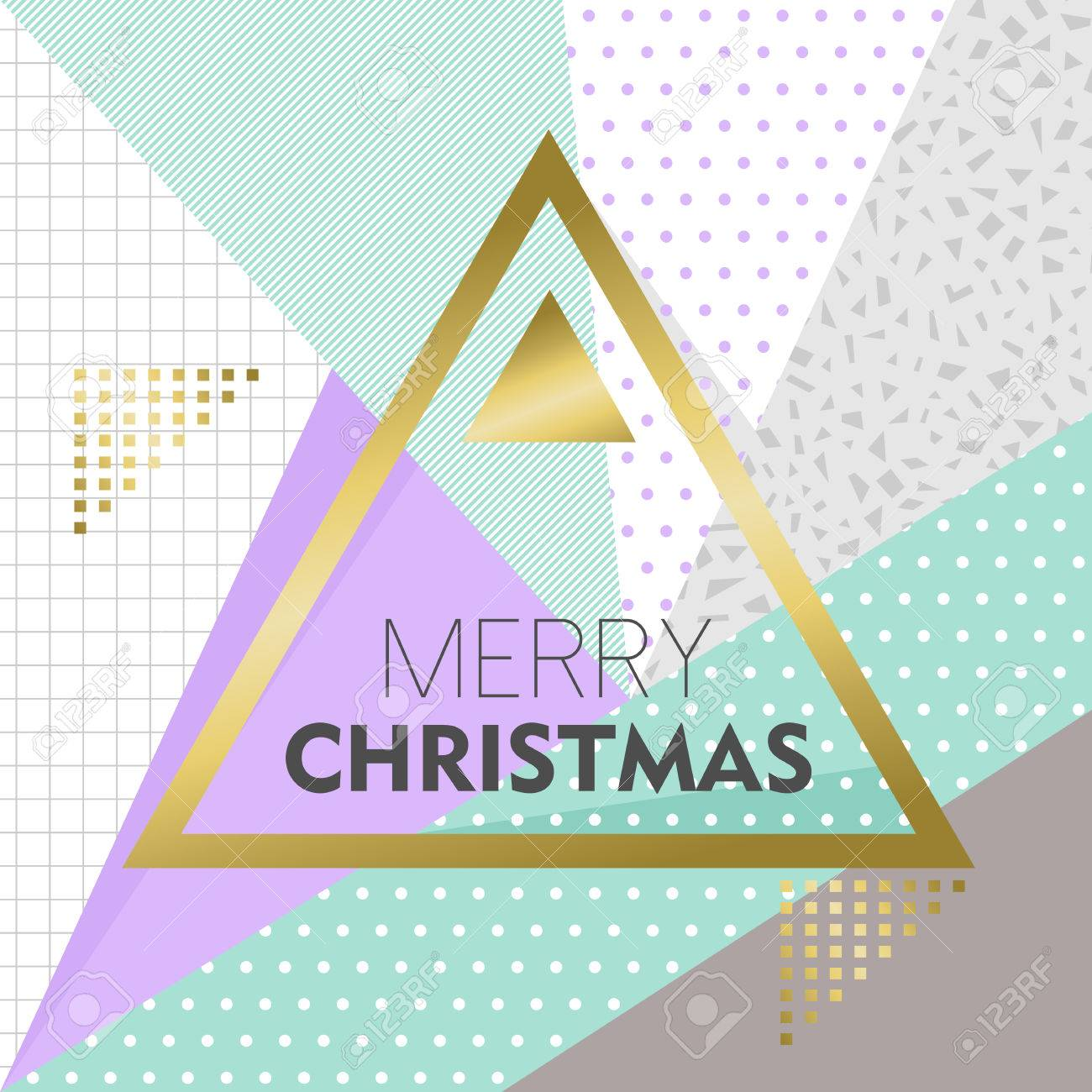 90s Christmas Background.Merry Christmas Design In Gold Color For Holiday Season On Retro