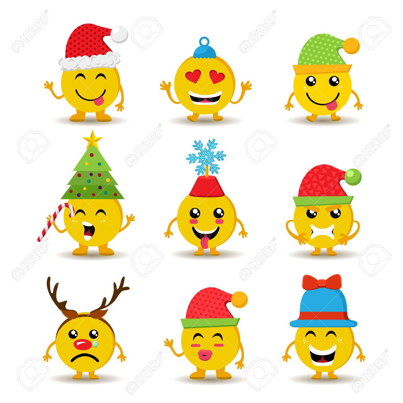 Set Of Holiday Smiley Faces Christmas Emoji Icons With Cute