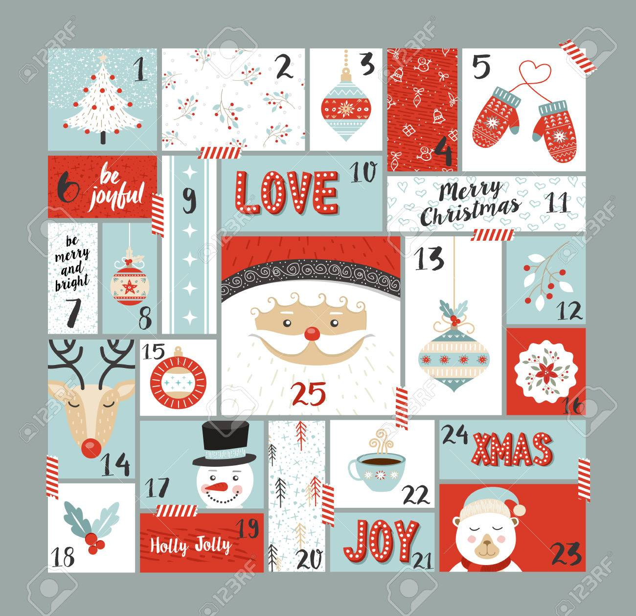 Christmas Countdown Calendar.Christmas Advent Calendar Cute Holiday Decoration Countdown