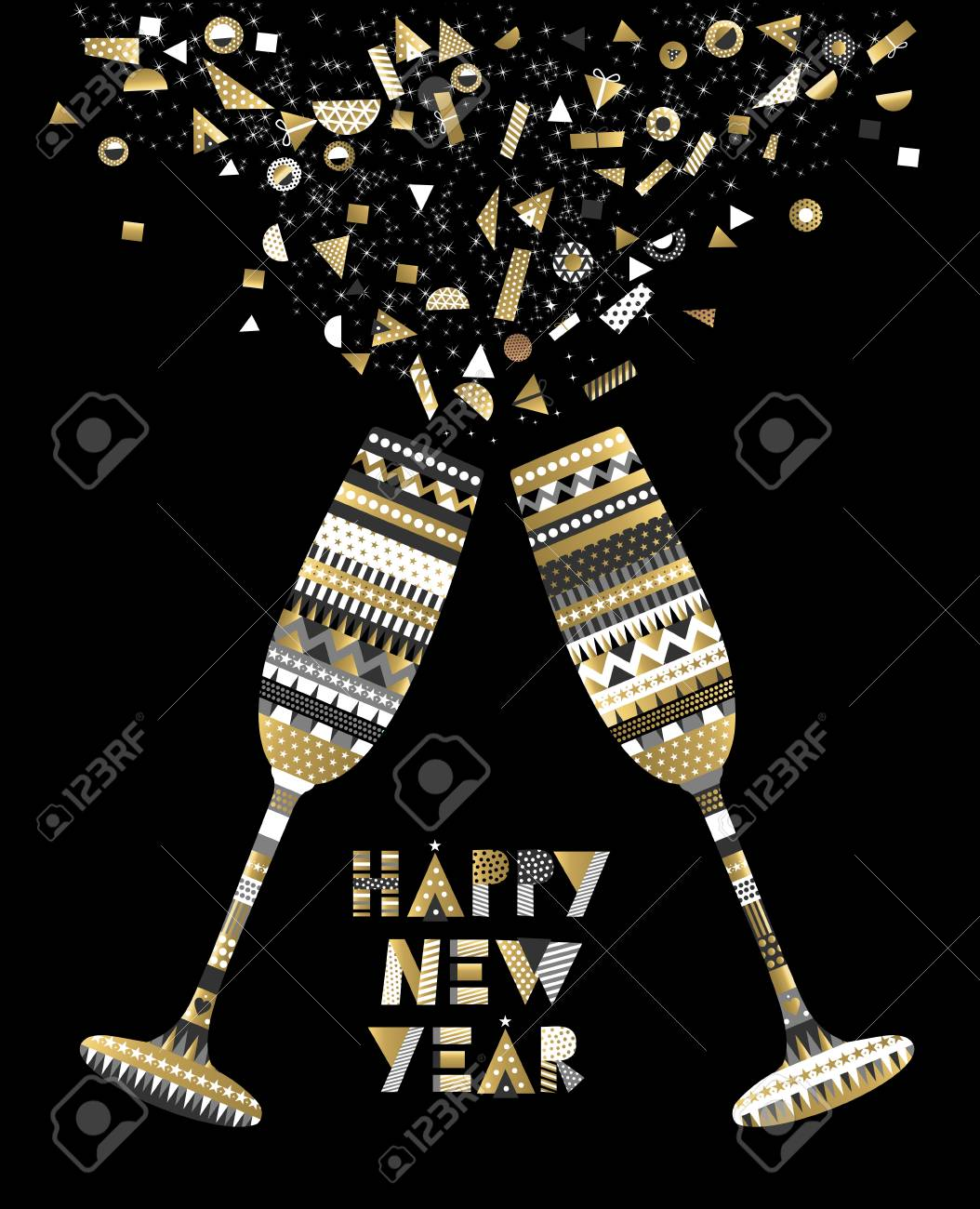 gold happy new year card design with drink glass making toast and abstract elegant decoration