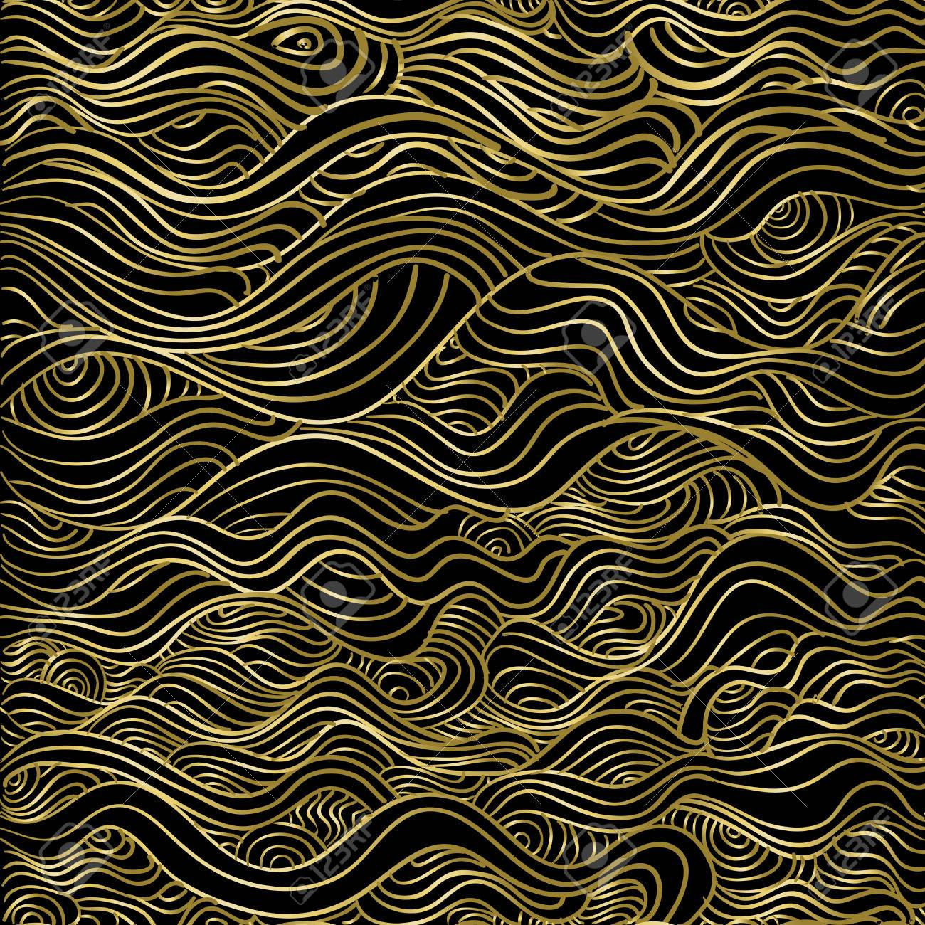Abstract gold seamless pattern, wave line luxury texture background for christmas season. Stock Vector - 65358237