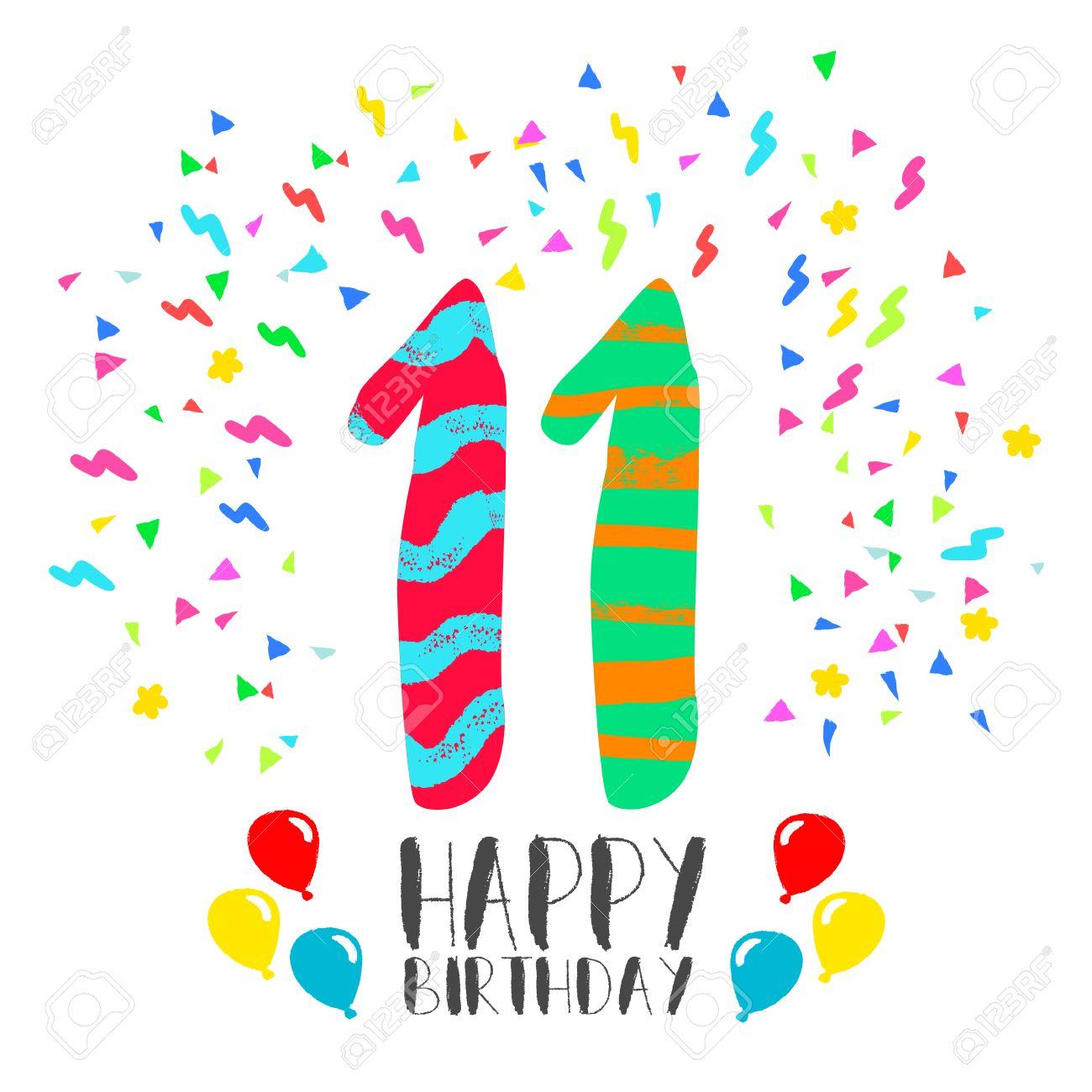 Numéro Joyeux Anniversaire 11 Carte De Voeux Pour Onze Années Dans Le Style Dart Damusement Avec Des Confettis De Fête Invitation Anniversaire