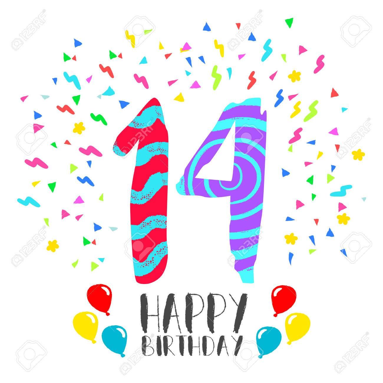 Número 14 Del Feliz Cumpleaños Tarjeta De Felicitación Durante Catorce Años En El Estilo Del Arte De La Diversión Con Confeti Partido Invitación Del