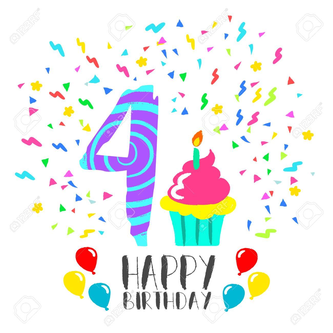 Joyeux Anniversaire Numéro 4 Carte De Voeux Pour Quatre Ans En Style Art Amusant Avec Confettis Et Gâteau De Fête Invitation Danniversaire