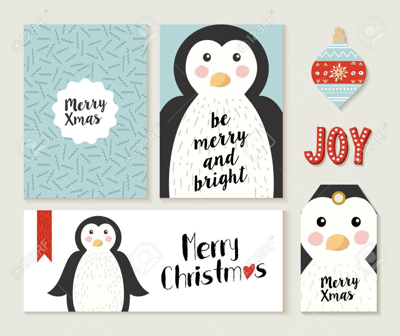 Vettoriale Merry Christmas Cartolina Impostato Con Simpatici