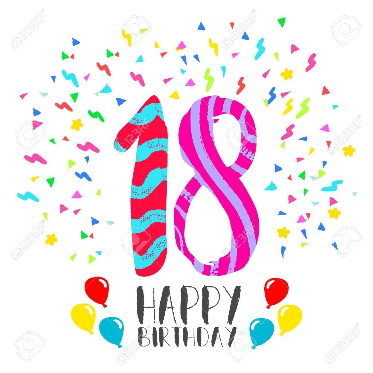 Alles Gute Zum Geburtstag Zahl 18 Grusskarte Fur 18 Jahre Im Fun