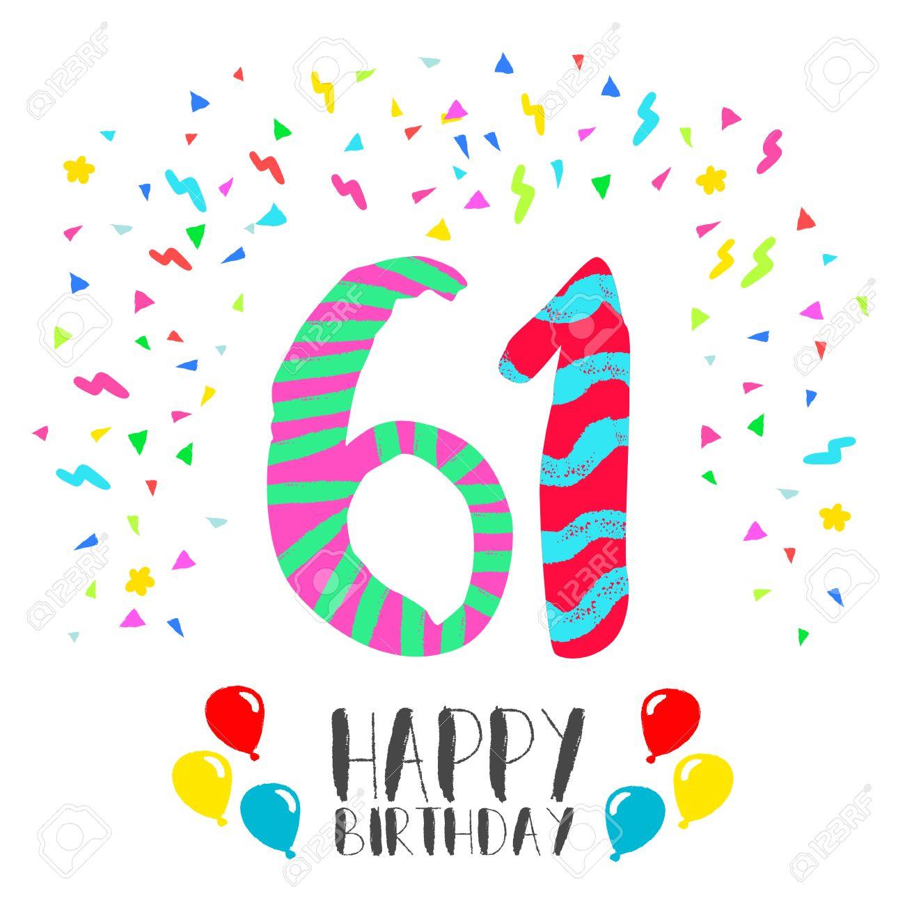 Número 61 Del Feliz Cumpleaños Tarjeta De Felicitación Por Sesenta Un Año En El Estilo Del Arte De La Diversión Con Confeti Partido Invitación Del