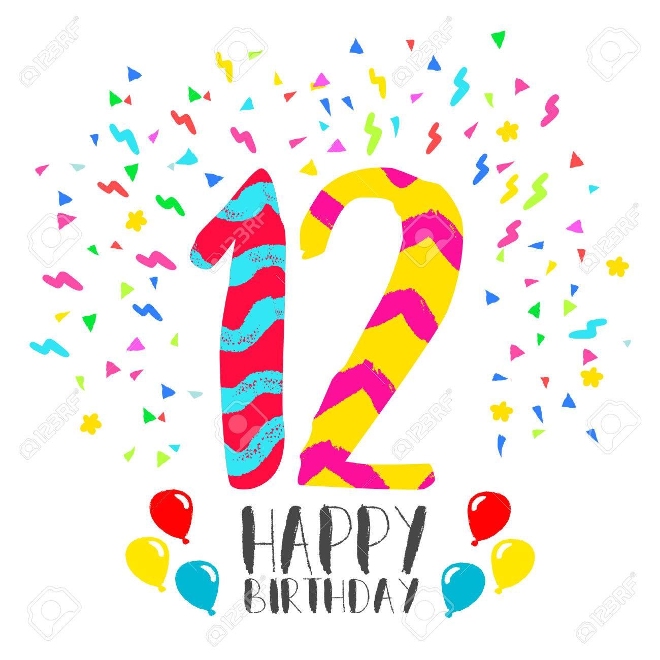 Numéro Joyeux Anniversaire 12 Carte De Voeux Pour Douze Années Dans Le Style Dart Damusement Avec Des Confettis De Fête Invitation