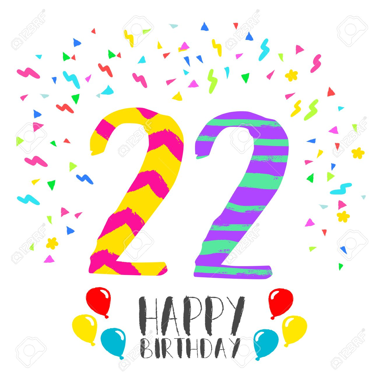 Happy Birthday Number 22 Greeting Card For Twenty Two Year In Fun Art Style With