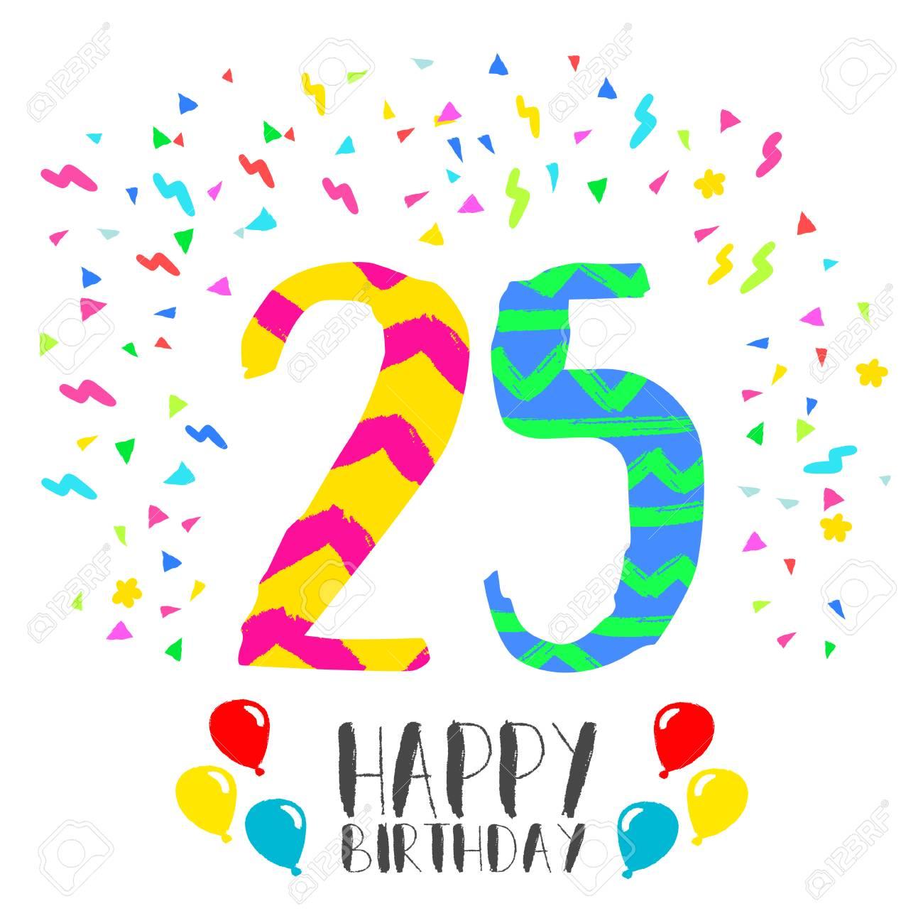 Numero 25 Del Feliz Cumpleanos Tarjeta De Felicitacion Por