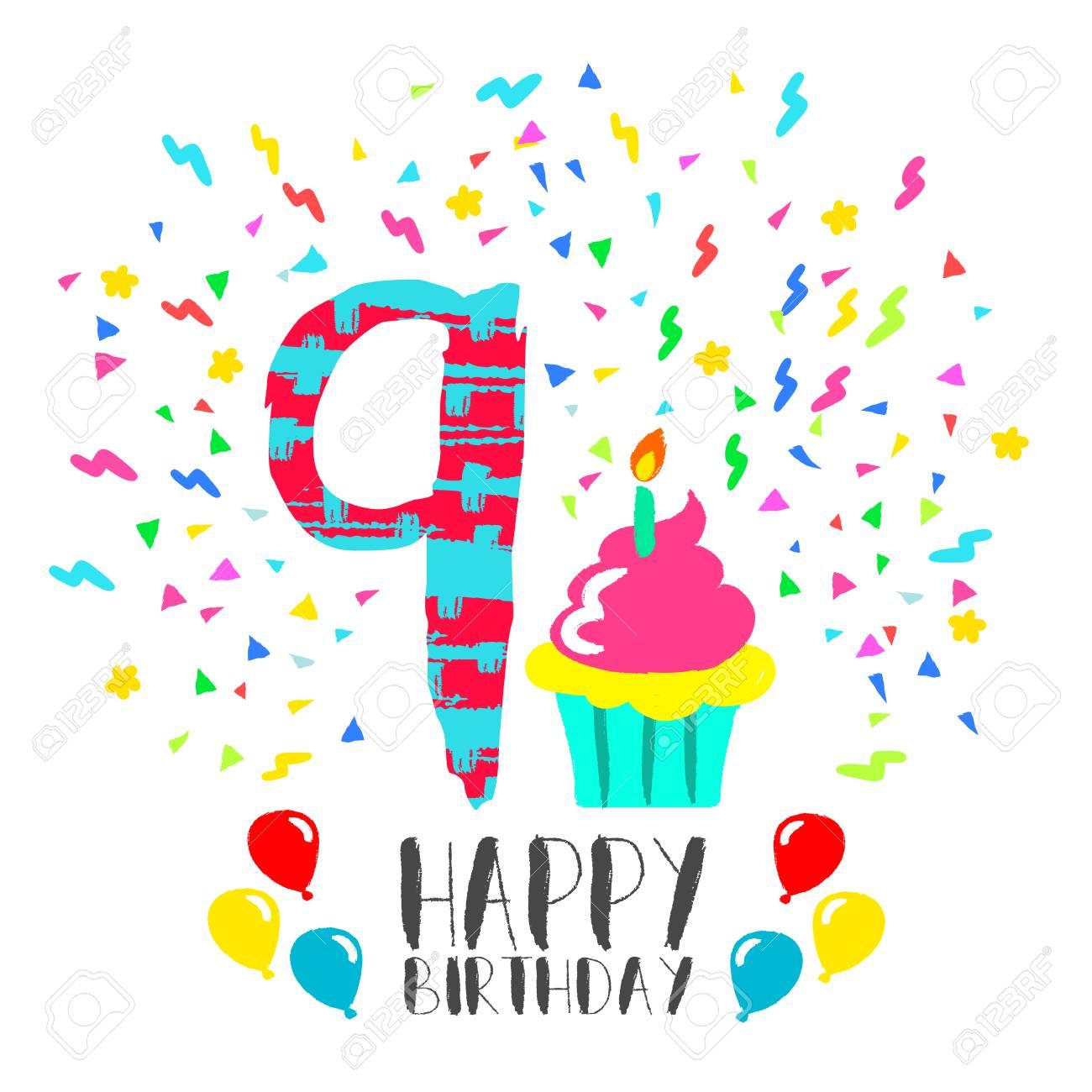 Alles Gute Zum Geburtstag Nummer 9 Grusskarte Fur Neun Jahre In Fun