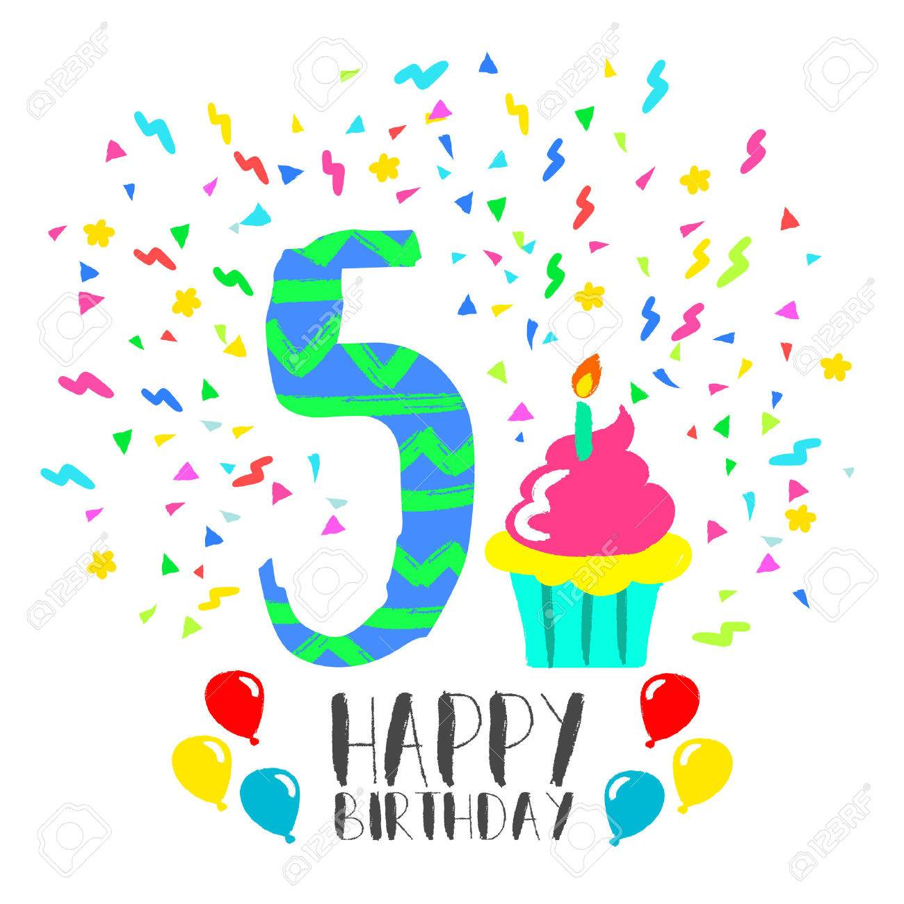 Joyeux Anniversaire Numéro 5 Carte De Voeux Pour Cinq Ans En Style Art Amusant Avec Confettis Et Gâteau De Fête Invitation Danniversaire