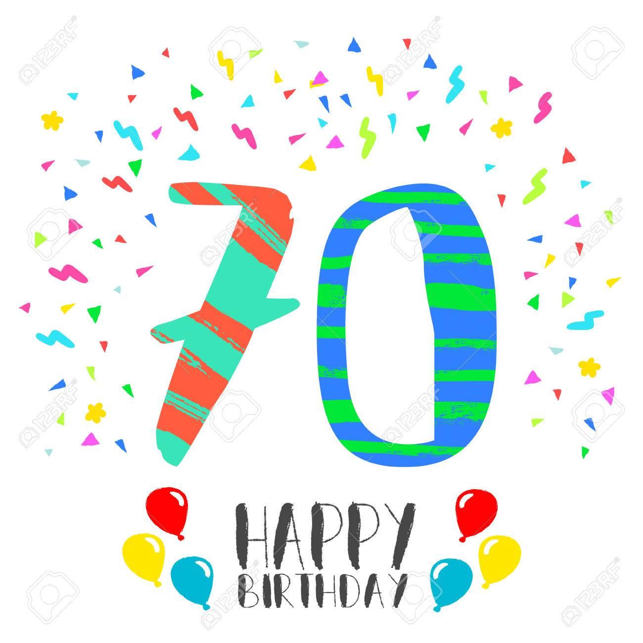 Número 70 Del Feliz Cumpleaños Tarjeta De Felicitación El Setenta Años En El Estilo Del Arte De La Diversión Con Confeti Partido Invitación Del