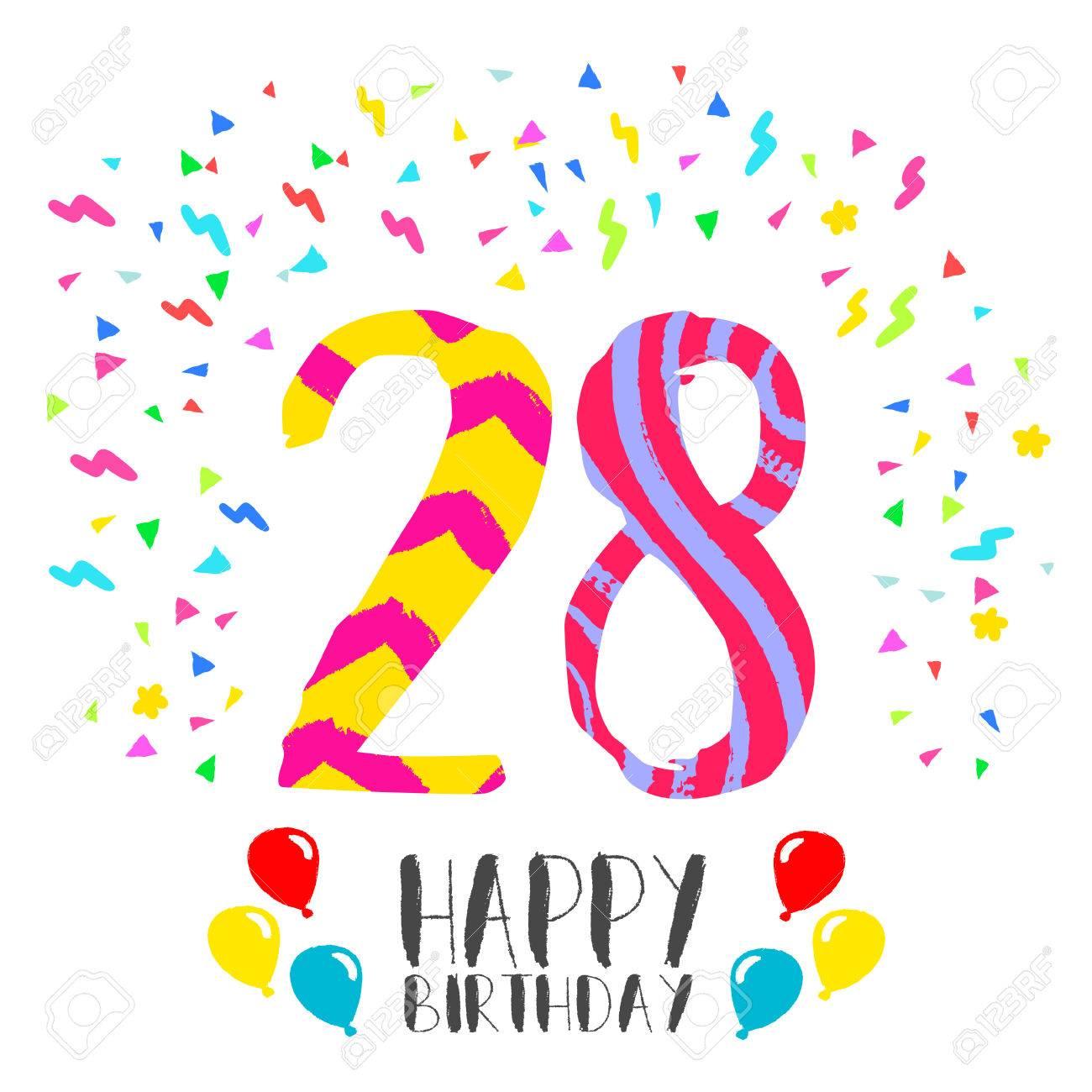 Joyeux Anniversaire Numéro 28 Carte De Voeux Pour Vingt Huit Ans En Style Art Amusant Avec Des Confettis De Fête Invitation Danniversaire