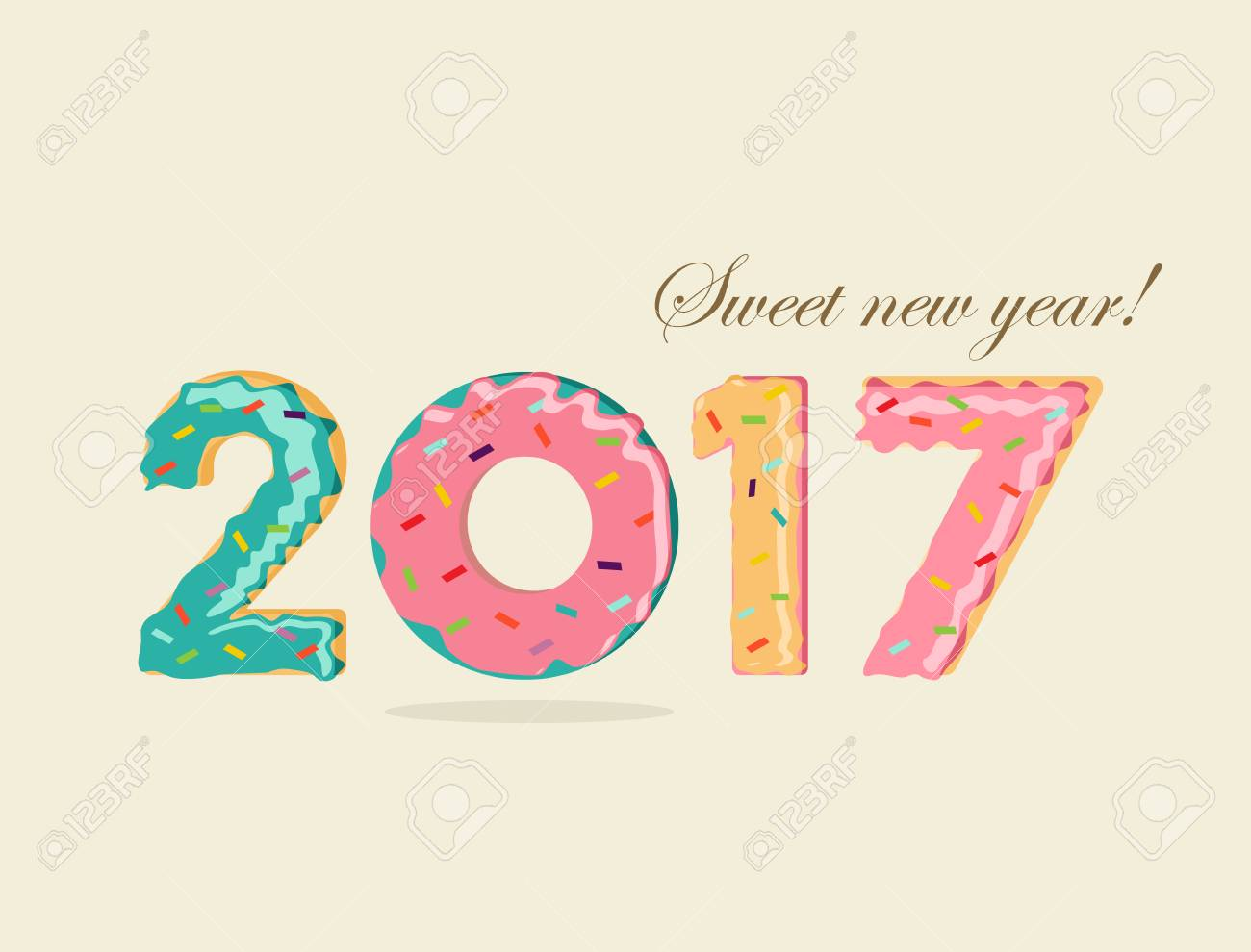 sweet happy new year 2017 fun typography design with dessert donut cake food numbers