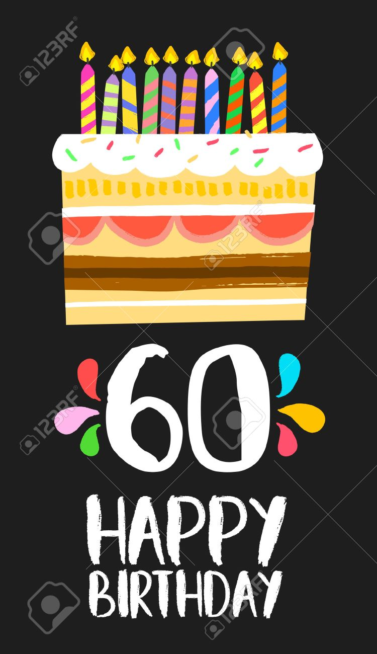 Happy Birthday Number 60 Greeting Card For Sixty Years In Fun Art Style With Cake