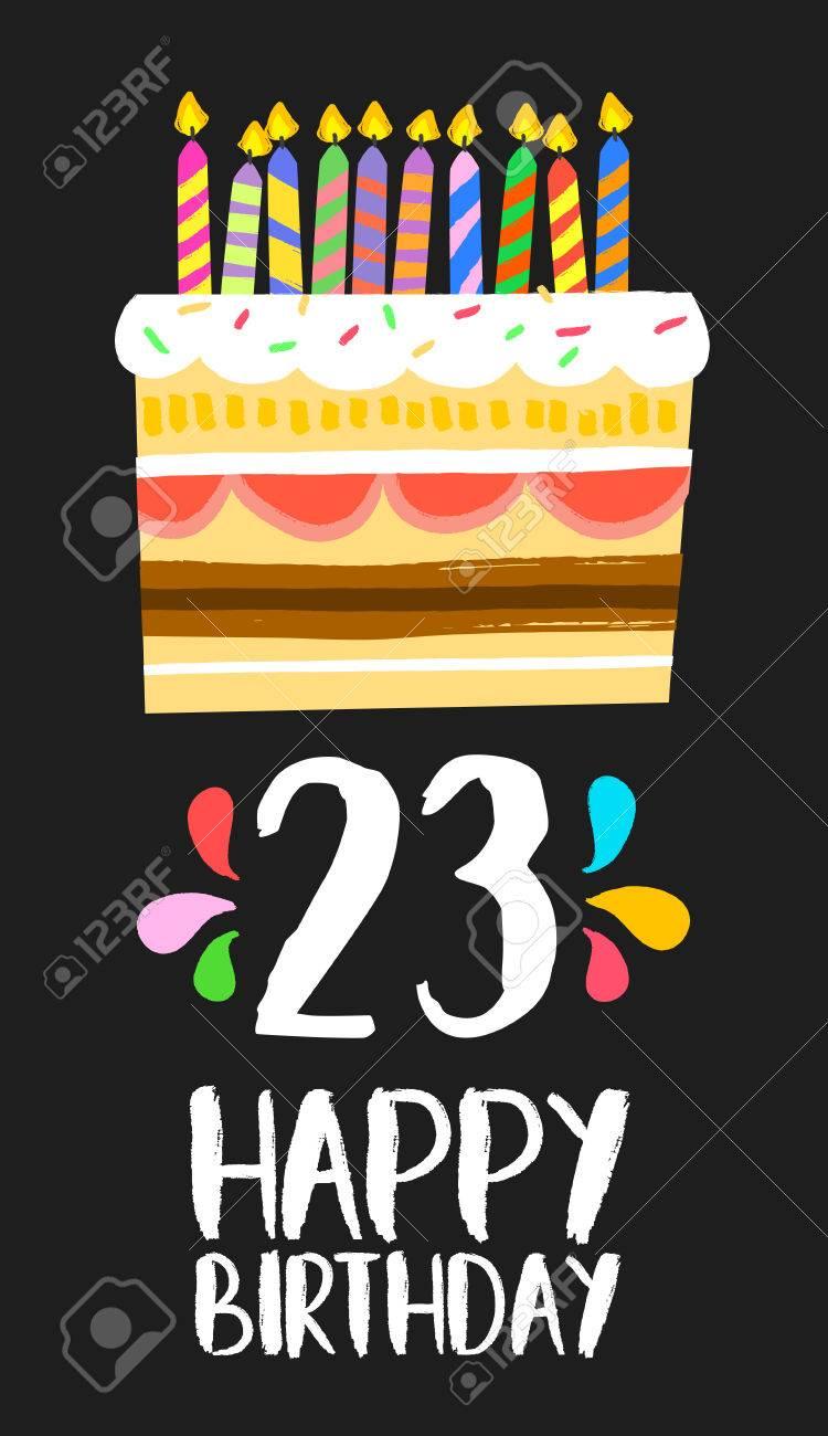 Buon Compleanno Numero 23 Biglietto Di Auguri Per Ventitré Anni In Stile Art Divertente Con Torta E Le Candele