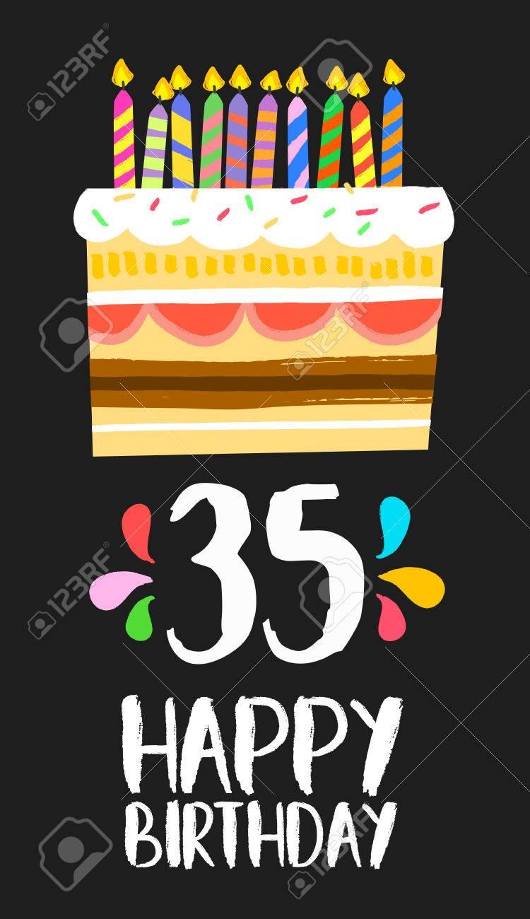Numero Joyeux Anniversaire 35 Carte De Voeux Pour Trente Cinq Ans
