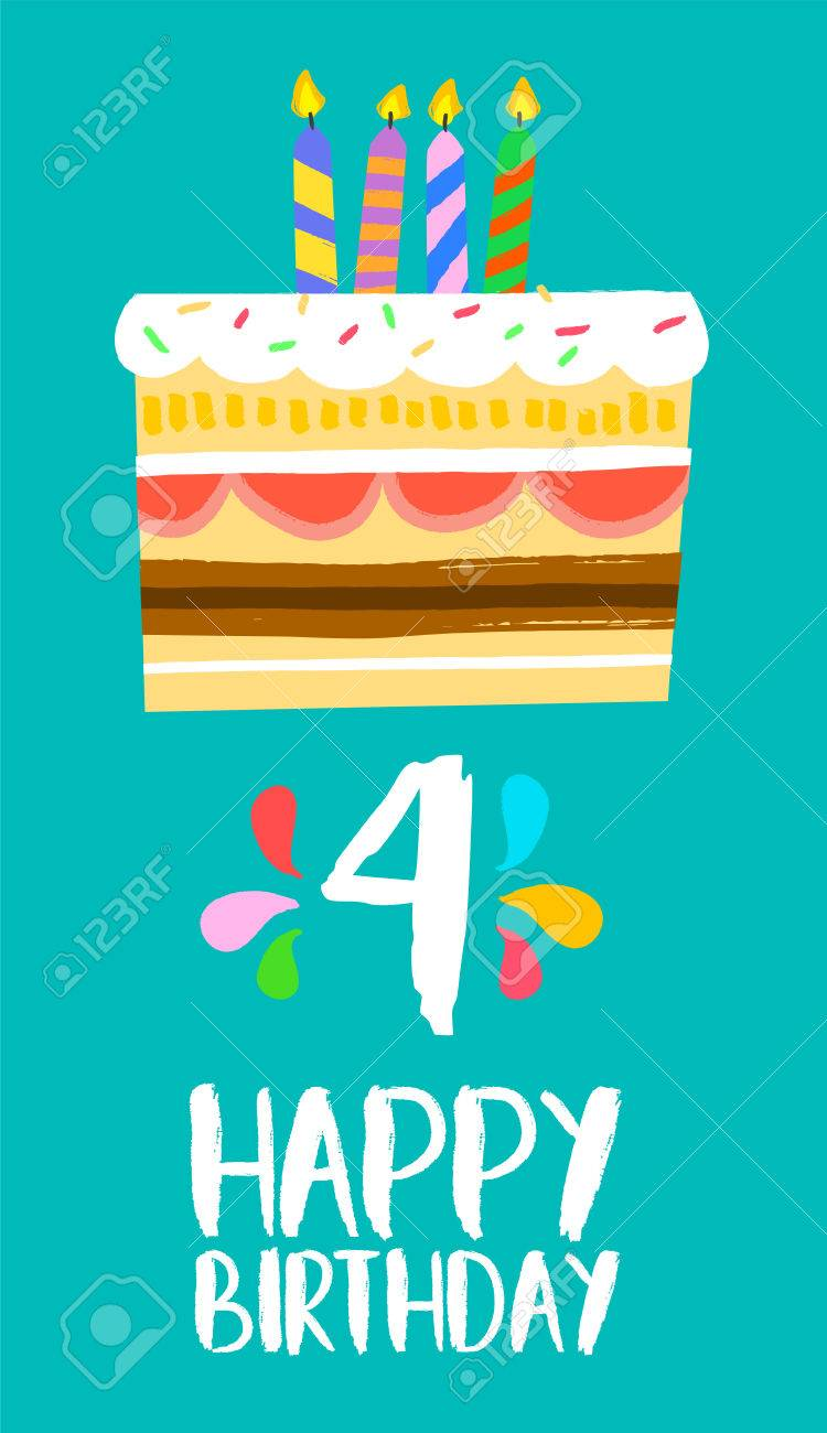 Happy Birthday Number 4 Greeting Card For Four Years In Fun Art Style With Cake