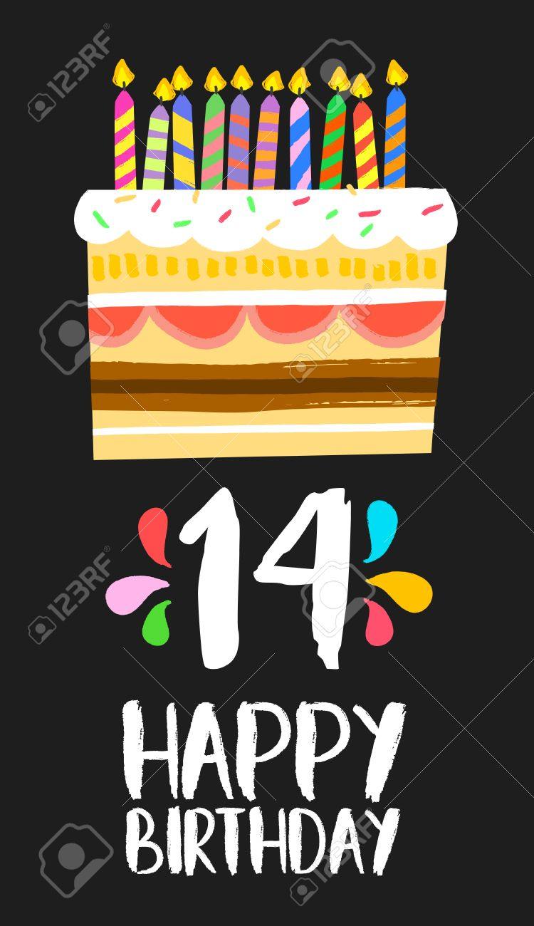 Alles Gute Zum Geburtstag Zahl 14 Grußkarte Für 14 Jahre In Spaß