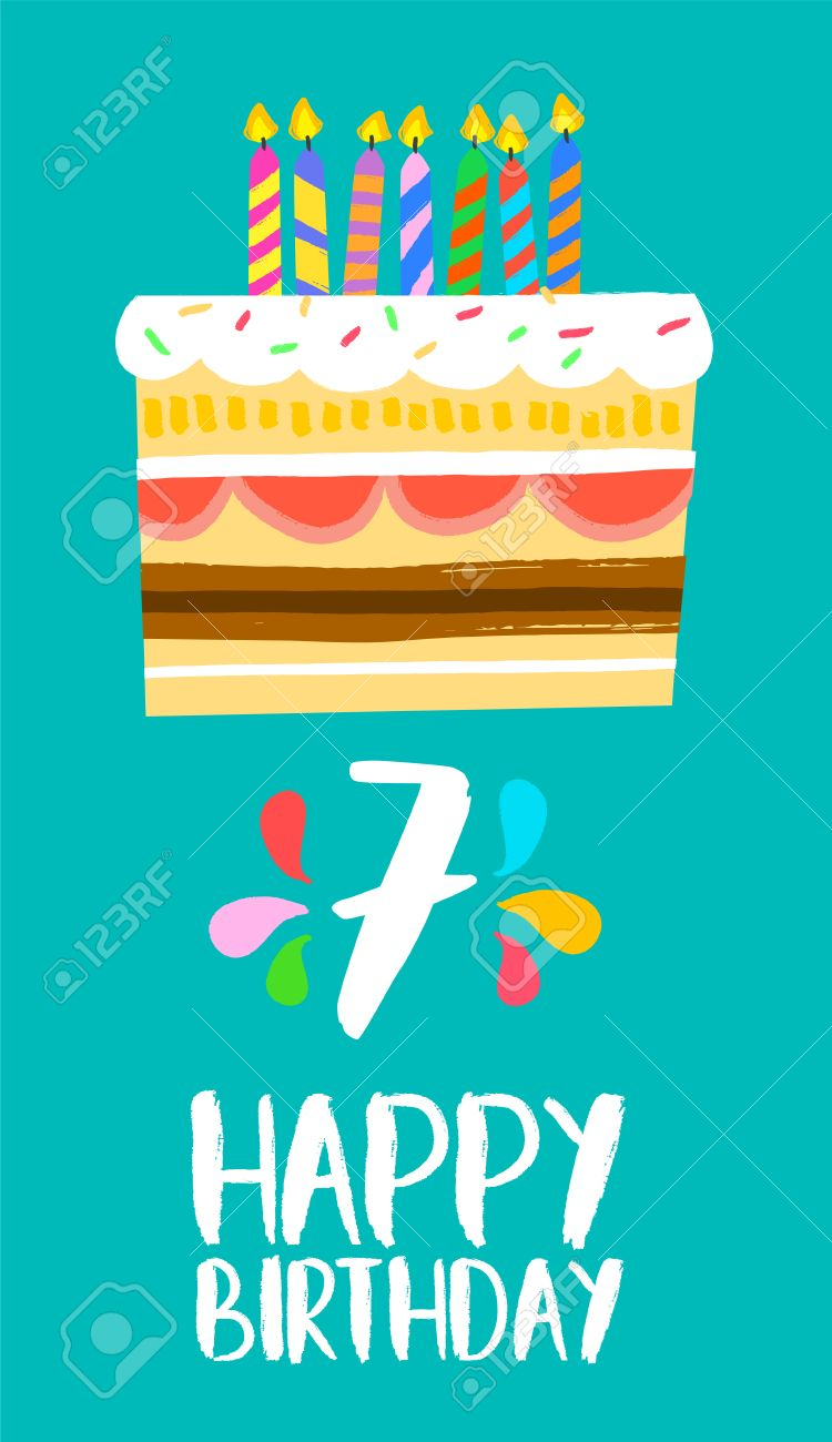 Happy Birthday Number 7 Greeting Card For Seven Years In Fun Art Style With Cake
