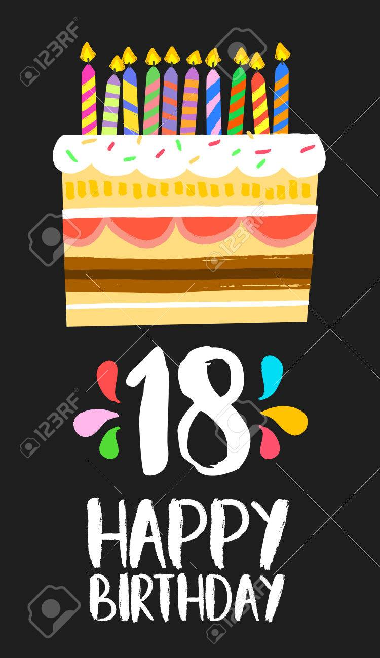 Happy Birthday Number 18 Greeting Card For Eighteen Years In Fun Art Style With Cake