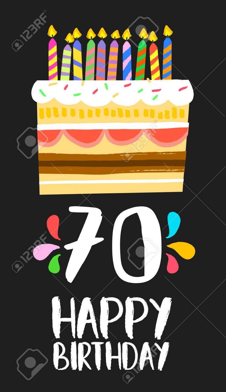 Número 70 Del Feliz Cumpleaños Tarjeta De Felicitación Por Setenta Años En El Estilo De La Diversión Del Arte Con La Torta Y Velas