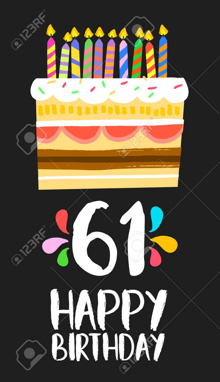 Happy Birthday Number 61 Greeting Card For Sixty One Years In