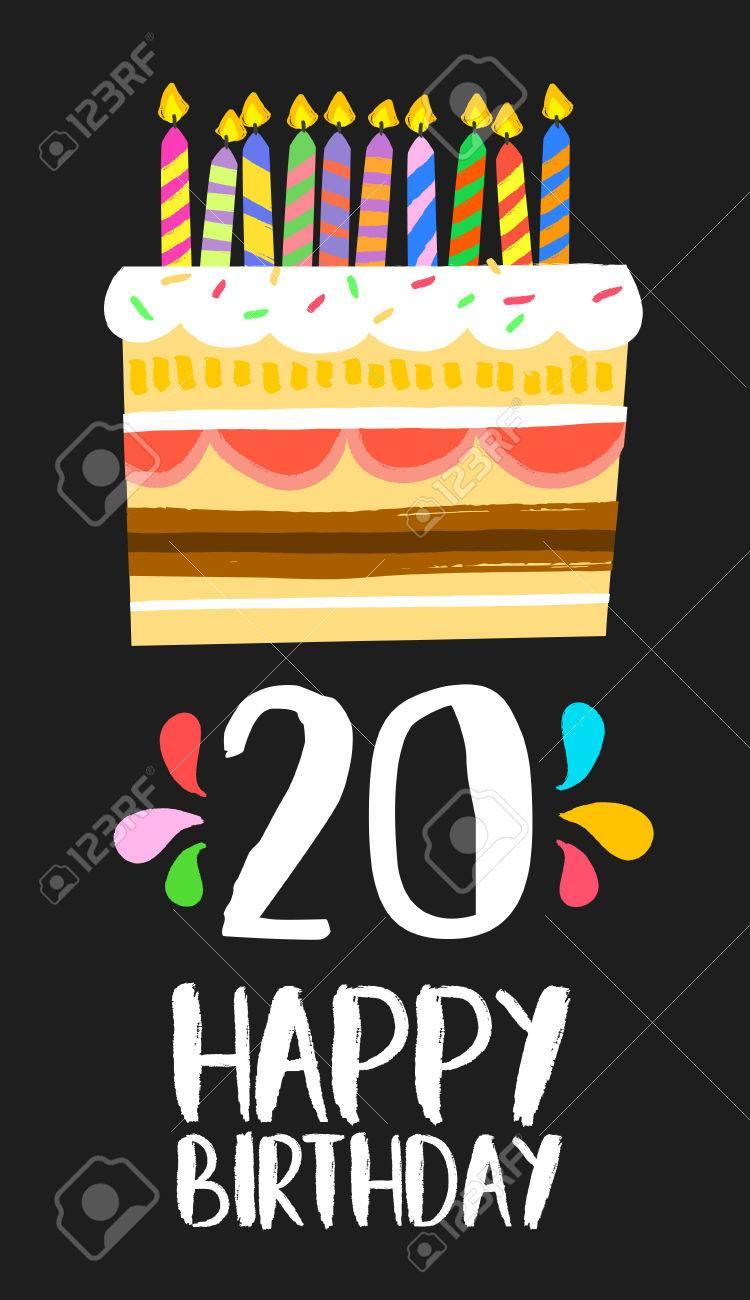 Numero Joyeux Anniversaire 20 Carte De Voeux Depuis Vingt Ans Dans