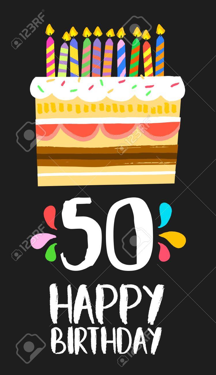 Número 50 Del Feliz Cumpleaños Tarjeta De Felicitación Por Cincuenta Años En El Estilo De La Diversión Del Arte Con La Torta Y Velas