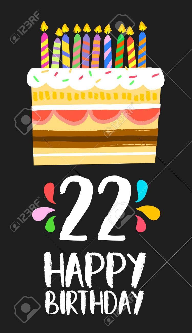 Numero Joyeux Anniversaire 22 Carte De Voeux Pour Vingt Deux Ans D Amusement De Style D Art Avec Un Gateau Et Des Bougies Clip Art Libres De Droits Vecteurs Et Illustration Image 67977011