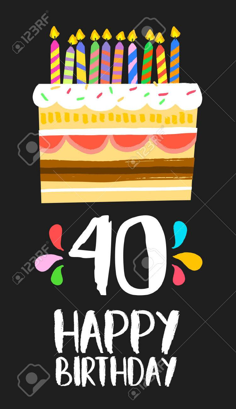 Happy Birthday Number 40 Greeting Card For Forty Years In Fun Art Style With Cake