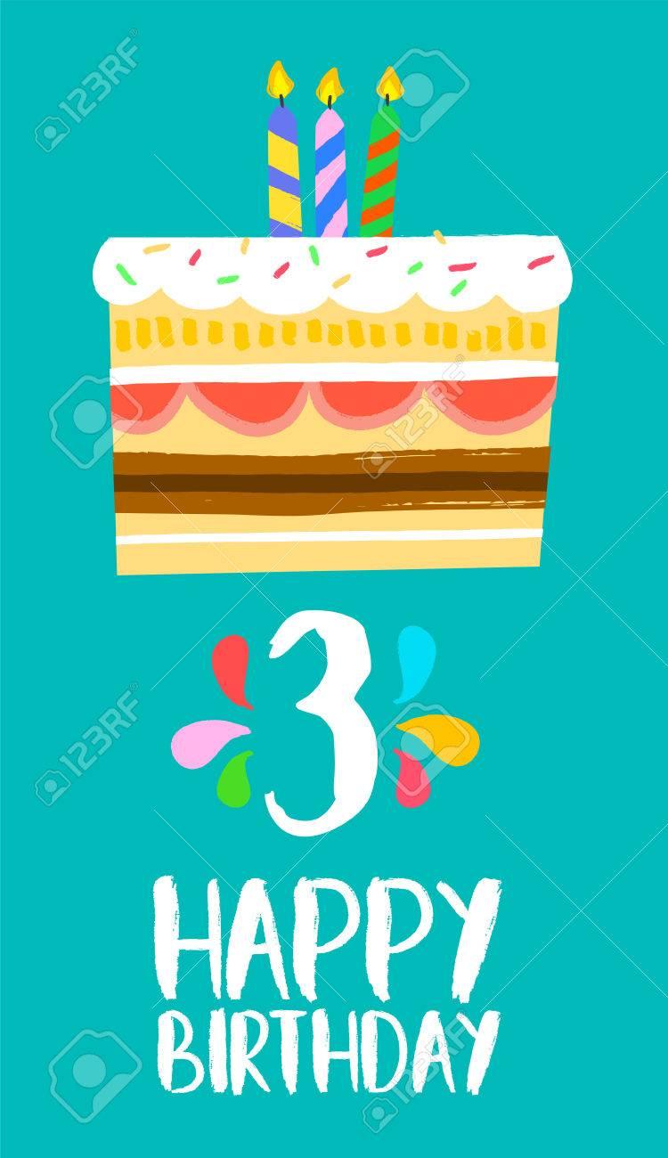 Joyeux Anniversaire Nombre 3 Carte De Voeux Pour Trois Ans Dans Un