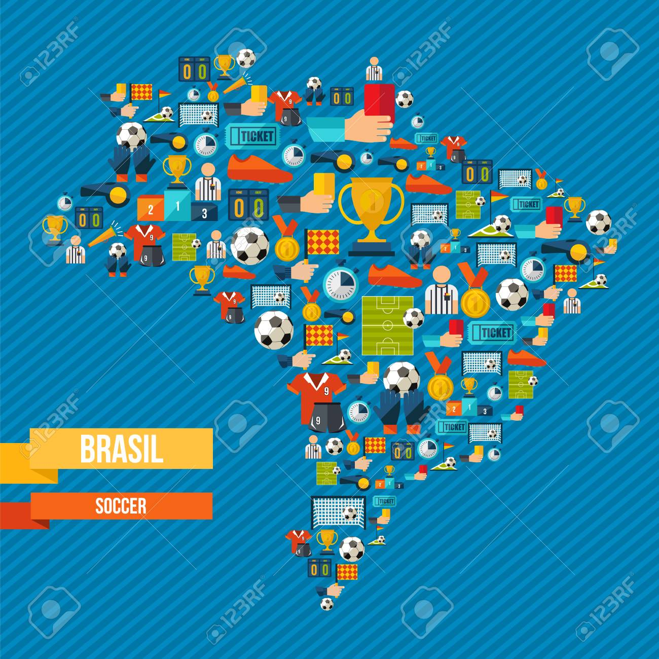 Brazil soccer culture icons in country map includes sport elements brazil soccer culture icons in country map includes sport elements for football game ball gumiabroncs Choice Image