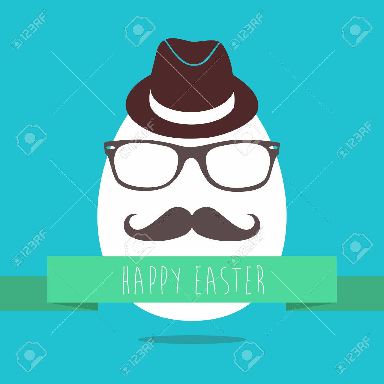 Funny easter greeting card design of hipster egg with glasses funny easter greeting card design of hipster egg with glasses and mustache for holiday celebration kristyandbryce Choice Image